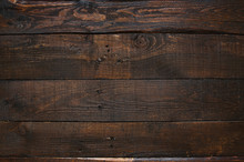Dark Brown Rustic  Aged Barn Wood Planks Background. Space For Text, Copy, Lettering.