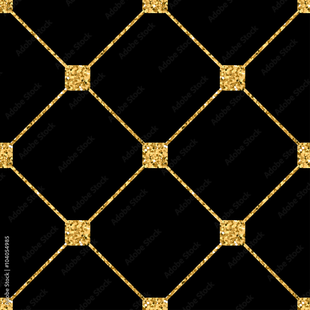 Rhombus seamless pattern. Gold glitter and black template. Abstract geometric texture. Golden ornament. Retro, Vintage decoration. Design template wallpaper, wrapping, fabric etc. Vector Illustration.