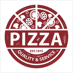 FototapetaVintage Vector Pizza Logo, Label Stamp isolated on white background