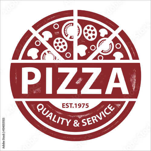 Vintage Vector Pizza Logo, Label Stamp isolated on white background - 104055103