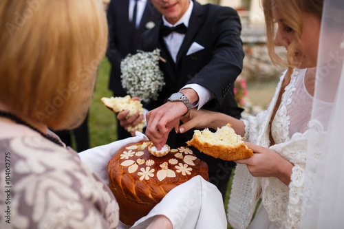 creative stylish wedding ceremony elegant blonde bride and groo Canvas Print
