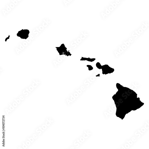 Fotografie, Obraz  Hawaii map on white background vector