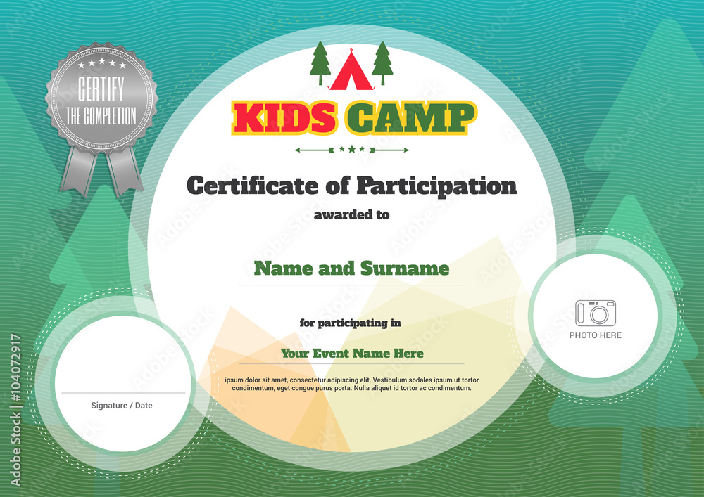 Kids Certificate Template In Vector For Camping Participation Foto