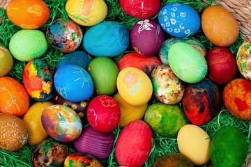 Fototapeta na wymiar Easter eggs on rustic wooden background
