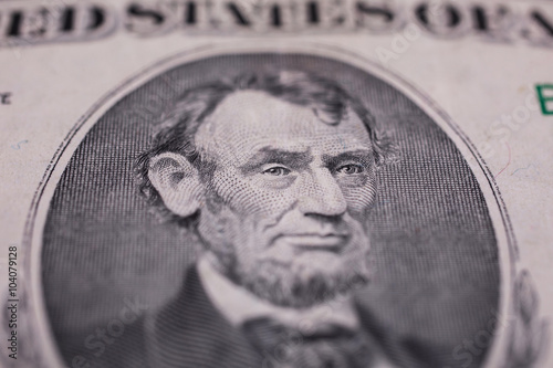 Plakat  background of the money, five dollar bills front side