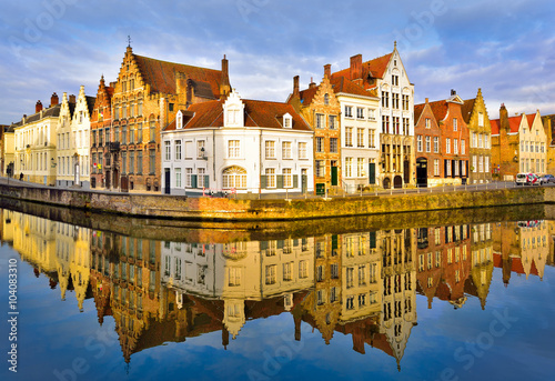 Traditional architecture in Brugge town, cityscape and skyline view