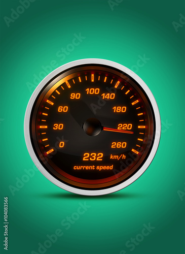 Photo  Isolated speedometer shows current speed of 232 kilometers an hour