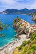 Vernazza - beautiful village in Ligurian coast of Italy , famous Cinque terre
