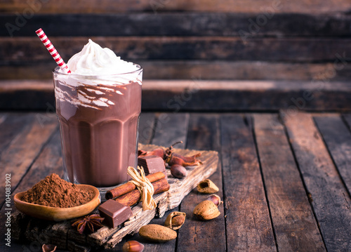 Staande foto Chocolade Chocolate milkshake with whipped cream