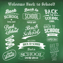 Back To School Label Design Templates. Retro Typography On Green Chalkboard Background.