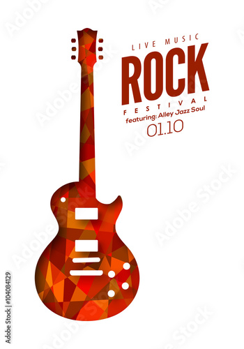 Rock Music Poster Background Template Vector Isolated Electric