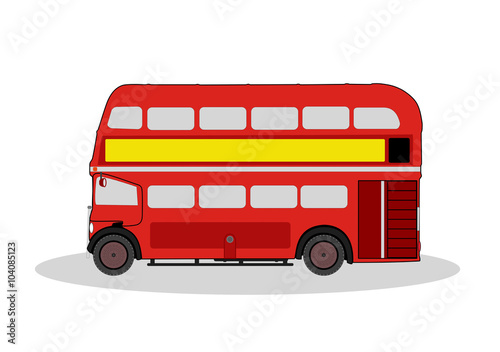 фотография vintage red london bus illustration on white
