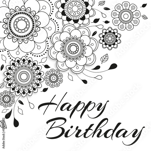 Coloriage Anniversaire Mandala.Carte D Anniversaire Mandala A Colorier 1 Buy This Stock Vector
