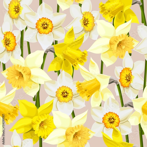 Foto Seamless white and yellow daffodils