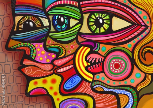 Fotografering  A digitally painted illustration of a group of faces drawn in a colorful folk art style