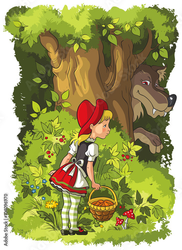 Little Red Riding Hood and Wolf in the forest