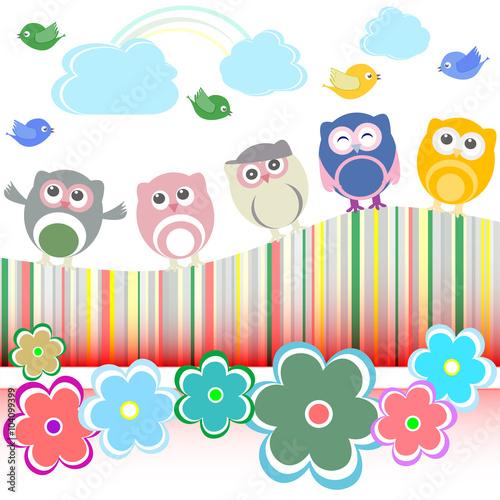 sowy-ptaki-i-kwiaty-tlo-wektor-wakacje-karty