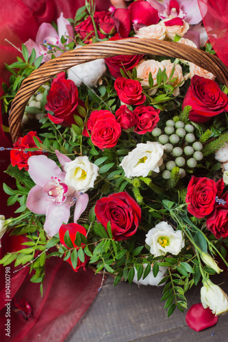 A basket of fresh flowers