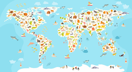 Fototapeta Do pokoju dziecka World mammal map. Beautiful cheerful colorful vector illustration for children and kids. Preschool, baby, continents, oceans, drawn, Earth