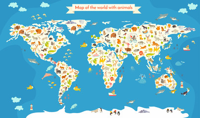 Fototapeta Mapy Map of the World with animals. Beautiful colorful vector illustration. Preschool, for baby, children, kids and all people