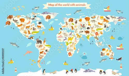 Animals world map colorful cartoon vector illustration for children animals world map colorful cartoon vector illustration for children and kids preschool education gumiabroncs Gallery