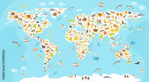 Mapa ssaków świata. Piękna wesoła kolorowa wektorowa ilustracja dla dzieci i dzieciaków. Przedszkole, dziecko, kontynenty, oceany, narysowane, Ziemia
