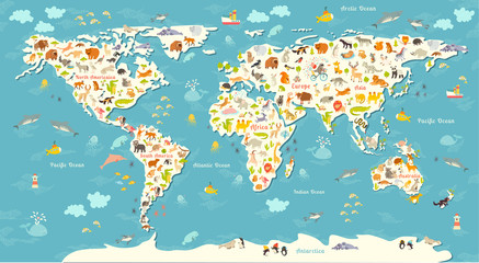 Fototapeta Do przedszkola Animals world map. Beautiful cheerful colorful vector illustration for children and kids. With the inscription of the oceans and continents. Preschool, baby, continents, oceans, drawn, Earth
