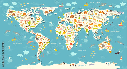 obraz lub plakat Animals world map. Beautiful cheerful colorful vector illustration for children and kids. With the inscription of the oceans and continents. Preschool, baby, continents, oceans, drawn, Earth