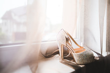 Beautiful Bride's White Shoes
