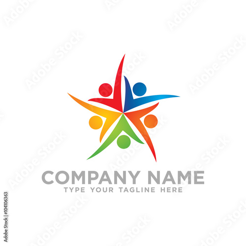 Social Network Team Partners Friends logo design vector