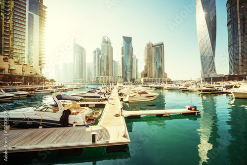 Dubai Marina at sunset, United Arab Emirates Poster