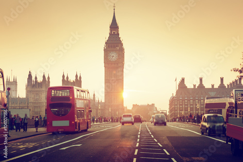 Spoed Foto op Canvas Londen Westminster Bridge at sunset, London, UK