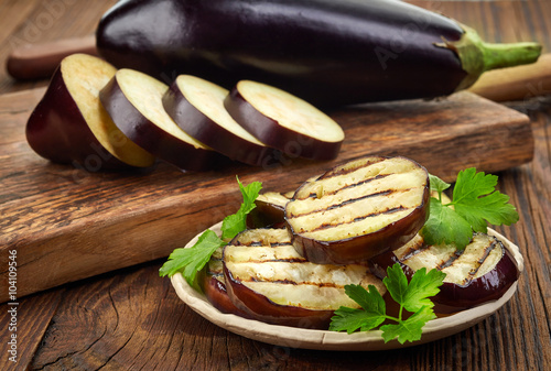grilled eggplant on wooden table
