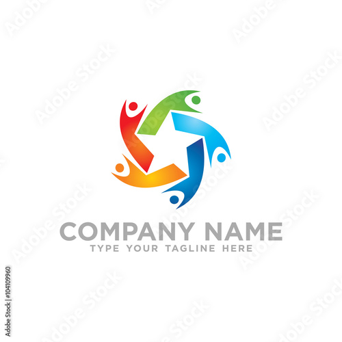 Star Social Network Team Partners Friends logo design vector