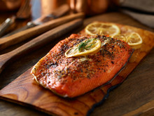 Cooked Salmon Fillet On Top Of...