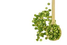 Green Lentils In Wooden Spoon