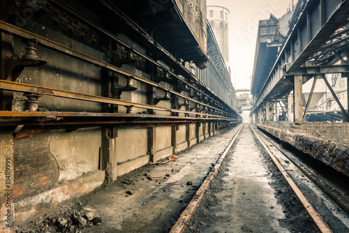 abandoned old industrial construction railway channel