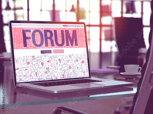 Fotografie, Obraz  Forum Concept - Closeup on Landing Page of Laptop Screen in Modern Office Workplace