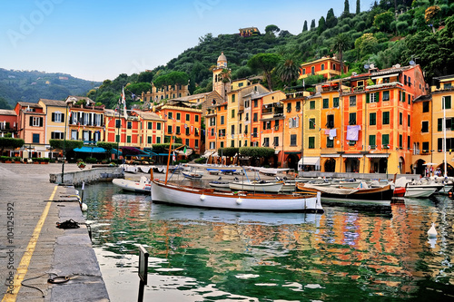 Canvas Prints Portofino Bay and the central square in Liguria, Italy