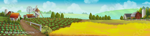Foto  Farm, panorama landscape, vector background