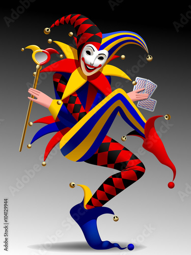 Slika na platnu Three Dimensional grimacing and smiling Joker with playing cards