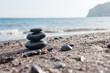 Stones pyramid on the beach.