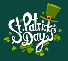 Vector Illustration Of St. Patrick's Day Greeting With Big White