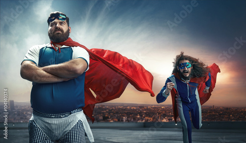 Fototapeta Funny portrait of two super heroes obraz