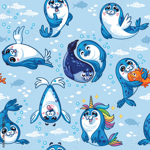 Seamless pattern with cute baby seal cartoon characters.