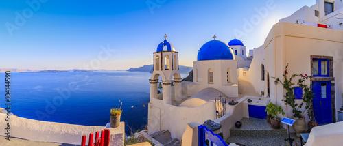 Fototapeta Santorini, Greece - Oia, sunrise, panorama  obraz