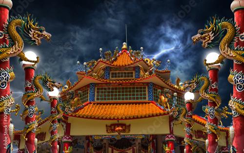 Valokuvatapetti Dragon palace lightning storm