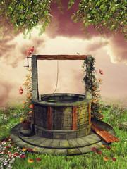 Fototapeta Fantasy Kolorowa studnia życzeń z bluszczem na wiosennej łące z kwiatami i motylami