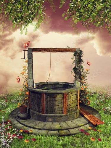 Kolorowa studnia życzeń z bluszczem na wiosennej łące z kwiatami i motylami - 104148393
