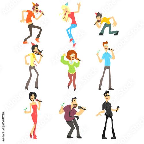 Fotografía  People Singing Karaoke, Vector Illustration Set